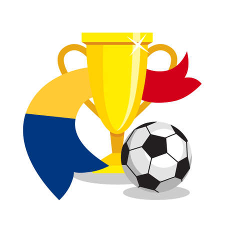 romanian: Football or soccer ball with cup and Romanian flag on white background. Concept of championship, league, team sport. Concept of prize, leadership, winning and success. Winner award.