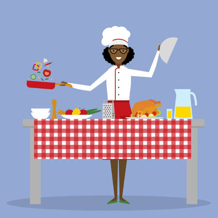 american table: African american chef cooking on blue background. Restaurant worker preparing food. Chef uniform and hat. Table and cafe equipment. Illustration