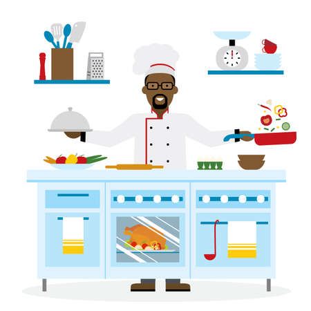 preparing: Male african american chef cooking on white background. Restaurant worker preparing food. Chef uniform and hat. Table and cafe equipment.