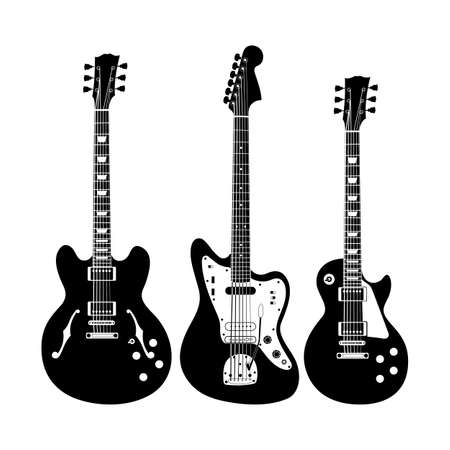 fret: Black and white electric guitar set on white background. Isolated stylish art. Modern grunge and rock style. Noir style.