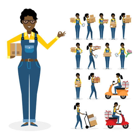 African american postwoman set. Isolated cartoon character. White background. All delivery equipment.