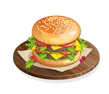 Aislado hamburguesa clásica sobre la placa de madera sobre fondo blanco. Emparedado fresco con carne de res, lechuga, tomate, queso y bollos. comida rápida americana. Ilustración de vector