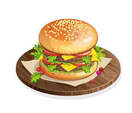 american food: Isolated classic hamburger on wooden plate on white background. Fresh sandwich with beef, lettuce, tomato, buns and cheese. American fast food. Illustration