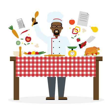 american table: Male african american chef cooking on white background. Restaurant worker preparing food. Chef uniform and hat. Table and cafe equipment.