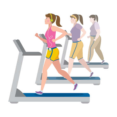 keep fit: Weight loss stages on white background. Girl lose weight, keep fit and follow a diet. Become thin and slim. Shape change. Fit female character. Illustration