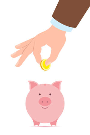 collect: Hand with coin and piggy bank. Hand holding coin. Concept of savings, earnings. Collect to pig bank. Saving coins to piggy bank. White background. Illustration