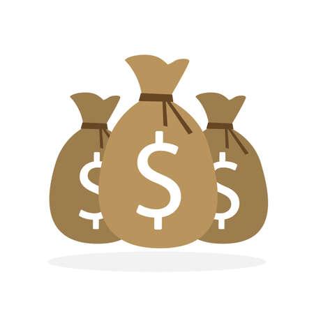 making money: Three isolated money bags on white background. Making money, earning. Good investment. Dollar money bag.