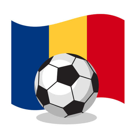 romanian: Football or soccer ball with Romanian flag on white background. World cup. Cartoon ball. Concept of championship, league, team sport. Game for kids and adults. Cheering and sport fans concept.