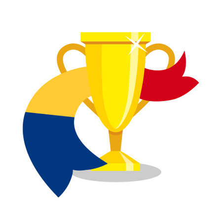 romanian: Golden cup with Romanian flag on white background. Concept of championship, league, team sport. Concept of prize, leadership, winning and success. Winner award. Illustration