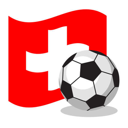 swiss flag: Football or soccer ball with swiss flag on white background. World cup. Cartoon ball. Concept of championship, league, team sport. Game for kids and adults. Cheering and sport fans concept.