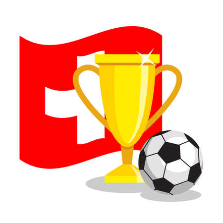 swiss ball: Football or soccer ball with cup and swiss flag on white background. Concept of championship, league, team sport. Concept of prize, leadership, winning and success. Winner award.