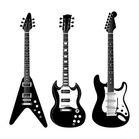 noir: Black and white electric guitar set on white background. Isolated stylish art. Modern grunge and rock style. Noir style.