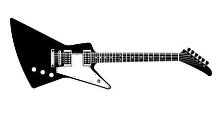 strum: Black and white electric guitar on white background. Isolated stylish art. Modern grunge and rock style. Noir style. Explorer.