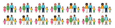 afroamericanas: familia tradicional multicultural con los padres y los niños. Familia feliz. Niños y niñas. familias americanos y caucásicos africanos. niño adoptado, chica. Familia sonriente. Los nuevos padres. Vectores