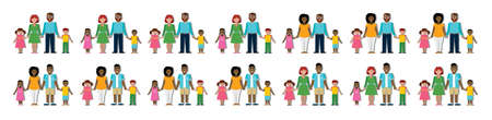 famille traditionnelle multiculturelle avec les parents et les enfants. Famille heureuse. Garçons et filles. familles américaines et caucasien africains. garçon adopté, fille. Sourire famille. Les nouveaux parents. Vecteurs