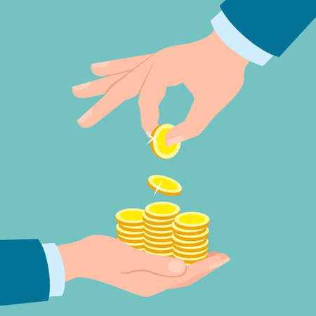 paying: Hands with golden coins on blue background. Hand putting coins in other hand. Concept of savings, donation, paying. Illustration