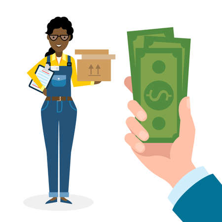 supplier: Money for delivery. African american female cartoon character. Delivery woman gets money. Hand holding dollars for boxes. Happy smiling supplier or delivery aget.