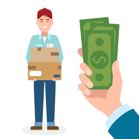 cash: Money for delivery. Handsome male cartoon character. Delivery man gets money. Hand holding dollars for boxes. Happy smiling supplier or delivery aget.