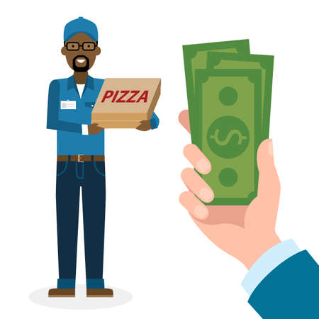 pizza man: Money for delivery. African american male cartoon character. Pizza man gets money. Hand holding dollars for pizza. Happy smiling pizza guy. Pizza restaurant. Fast delivery.