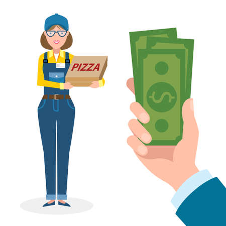 woman holding money: Money for delivery. Female cartoon character. Pizza woman gets money. Hand holding dollars for pizza. Happy smiling pizza girl. Pizza restaurant. Fast delivery. Illustration