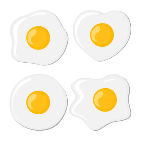 yolk: Fried eggs set. Isolated eggs on white background. Healthy nutritious breakfast. Yolk and white.