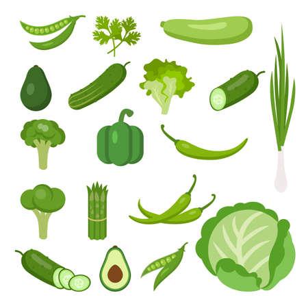 Zestaw warzyw na białym tle. Wszystkie świeże i zdrowe warzywa, w tym groszek, pietruszka, szpik, avocado, ogórek, sałata, cebula, brokuły, papryka, chili, kalafior, szparagi, kapusta.