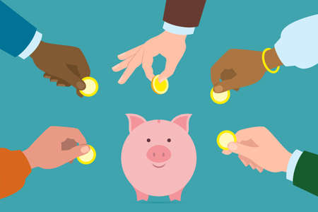el mundo en tus manos: Putting golden coins in piggy bank. Investment, payment, savings your earnings. Multicultural hands. Caucasian, african american, indian, asian. Different ethnicities. Around the world. Vectores
