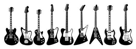 Electric guitar set on white background. All guitars as lps, jaguar, l5s, firebird, thinline, explorer, v, sg, soloist.
