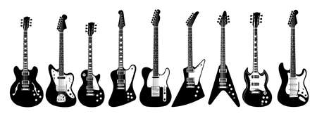soloist: Electric guitar set on white background. All guitars as lps, jaguar, l5s, firebird, thinline, explorer, v, sg, soloist.