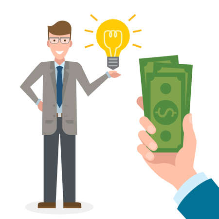 new account: Businessman gets money for the idea. Handsome businessman has idea bulb. Selling new ideas, getting money. Funding concept. Money bag. Illustration