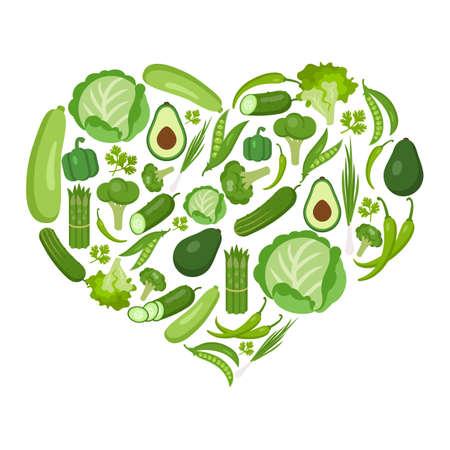 Hartvormige groenten ingesteld op wit. Alle verse en gezonde groenten met inbegrip van erwten, peterselie, merg, avocado, komkommer, sla, ui, broccoli, peper, chili, bloemkool, asperges, kool. Stock Illustratie