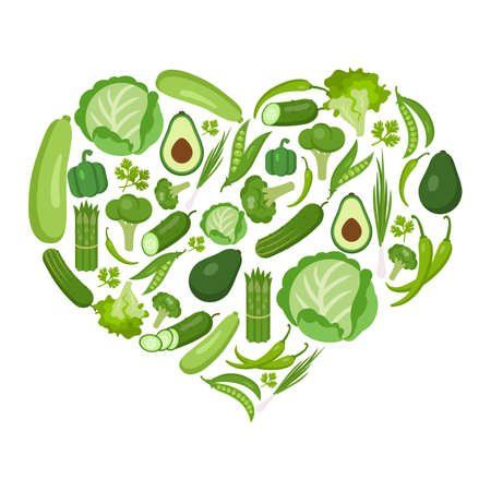 Heart shaped vegetables set on white. All the fresh and healthy vegetables including peas, parsley, marrow, avocado, cucumber, lettuce, onion, broccoli, pepper, chili, cauliflower, asparagus, cabbage.