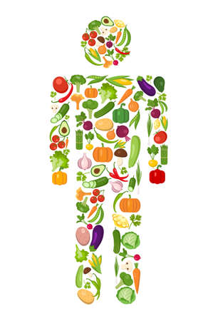 vegeterian: Vegetables man silhouette. Isolated cartoon character on white background. All fresh vegetables including tomatoes, cucumbers, broccoli, mushrooms, Vegeterian concept. Illustration