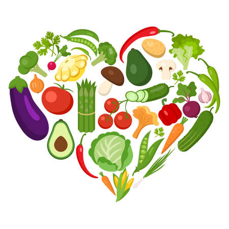 veggies: Heart shaped vegetables set on white. All the fresh and healthy vegetables including peas avocado, cucumber, lonion, broccoli, pepper, chili, tomato and more.