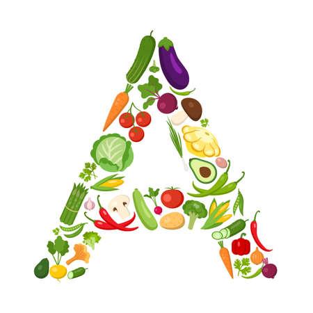야채에서 보낸 편지. 녹색 알파벳입니다. 건강 관리에 대 한 신선한 녹색 야채입니다. 건강 한 다이어트 개념입니다. 당근, 양파, 토마토, 후추, 오이,