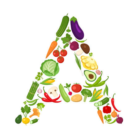 A letter from vegetables. Green alphabet. Fresh green vegetables for healthcare. Healthy diet concept. All vegetables like carrot, onion, tomato, pepper, cucumber, cabbage.