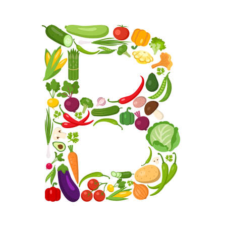 B letter from vegetables. Green alphabet. Fresh green vegetables for healthcare. Healthy diet concept. All vegetables like carrot, onion, tomato, pepper, cucumber, cabbage.