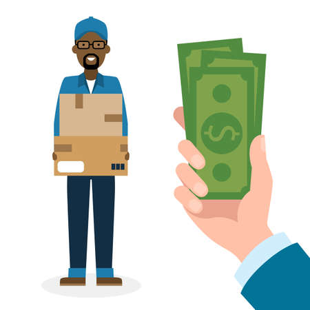 cash: Money for delivery. Handsome african american male cartoon character. Delivery man gets money. Hand holding dollars for boxes. Happy smiling supplier or delivery aget.