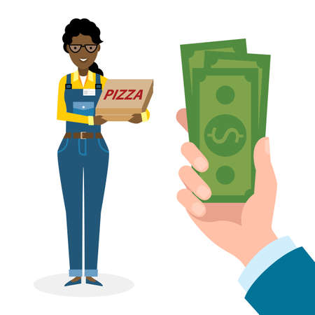 woman holding money: Money for delivery. African american female cartoon character. Pizza woman gets money. Hand holding dollars for pizza. Happy smiling pizza girl. Pizza restaurant. Fast delivery. Illustration