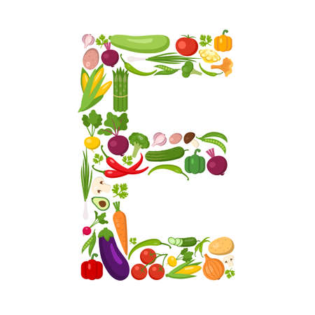 E letter from vegetables. Green alphabet. Fresh green vegetables for healthcare. Healthy diet concept. All vegetables like carrot, onion, tomato, pepper, cucumber, cabbage.