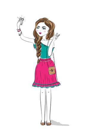 teenage girl: Girl makes selfie. Watercolor trendy art of girl making selfie with smartphone. Camera for selfie photo. Beautiful pretty teenage girl. Illustration