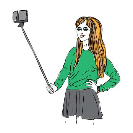 pretty teenage girl: Girl makes selfie. Watercolor trendy art of girl making selfie with selfie stick. Camera for selfie photo. Beautiful pretty teenage girl.