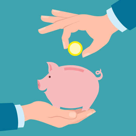 collect: Hands with coin and piggy bank. Hand holding coin. Concept of savings, earnings. Collect to pig bank. Saving coins to piggy bank. White background.