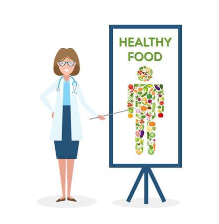 Docteur avec la bannière de la nourriture saine. Nutritionniste montre comment manger des aliments sains et frais. légumes Freen pour le corps. silhouette humaine. Vecteurs