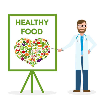 regular people: Doctor with healthy food banner. Nutritionist shows how to eat clean and fresh food. Freen vegetables for body. Heart-shaped silhouette.