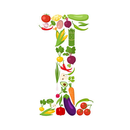 I letter from vegetables. Green alphabet. Fresh green vegetables for healthcare. Healthy diet concept. All vegetables like carrot, onion, tomato, pepper, cucumber, cabbage.