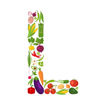 L letter from vegetables. Green alphabet. Fresh green vegetables for healthcare. Healthy diet concept. All vegetables like carrot, onion, tomato, pepper, cucumber, cabbage.