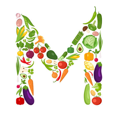 M letter from vegetables. Green alphabet. Fresh green vegetables for healthcare. Healthy diet concept. All vegetables like carrot, onion, tomato, pepper, cucumber, cabbage. Ilustrace