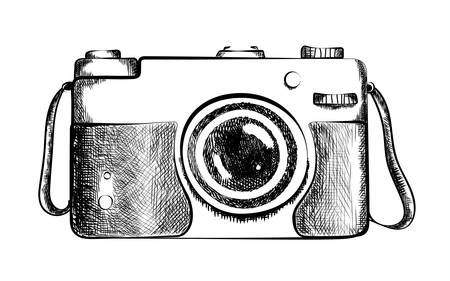 Drawn retro camera. Drawing of black and white vintage camera with lens. Old fashioned design. Camera closeup. Professional equipment or hobby photographer. Imagens - 59690122
