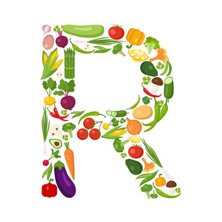 R brief van groenten. Groen alfabet. Verse groene groenten voor de gezondheidszorg. Gezonde voeding concept. Alle groenten zoals wortel, ui, tomaat, paprika, komkommer, kool.